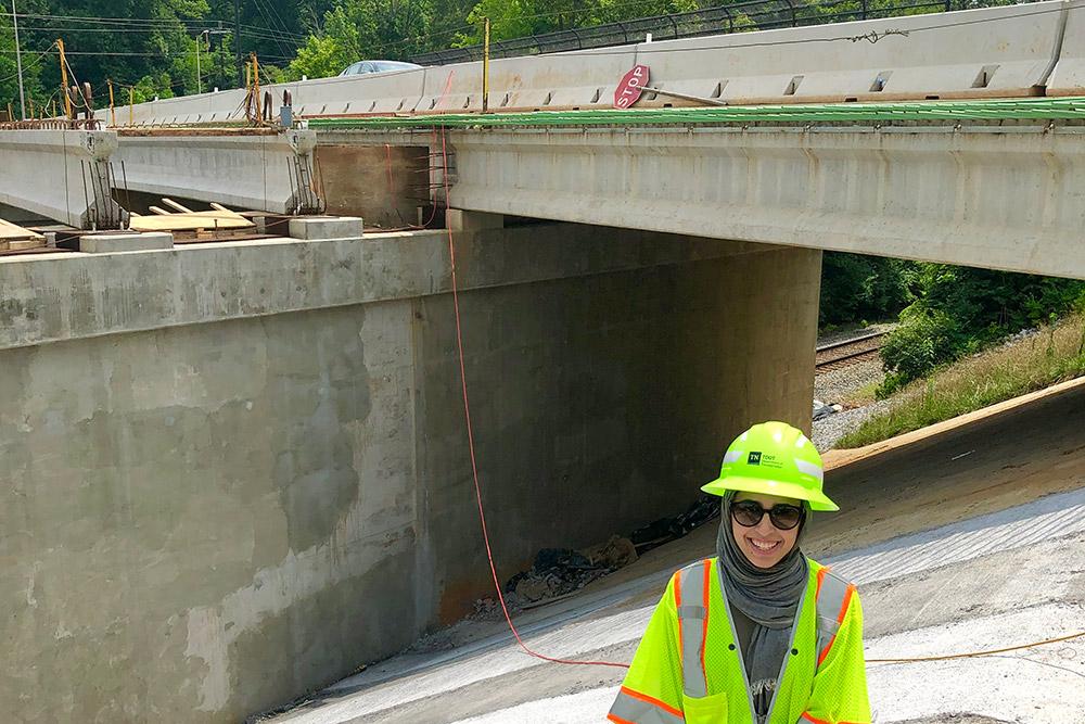 Hira Malik on the site of a bridge project.